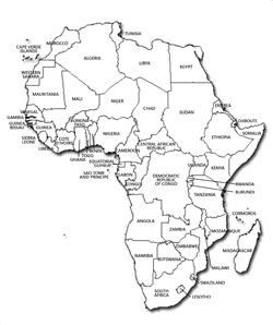 Contour political map of Africa.