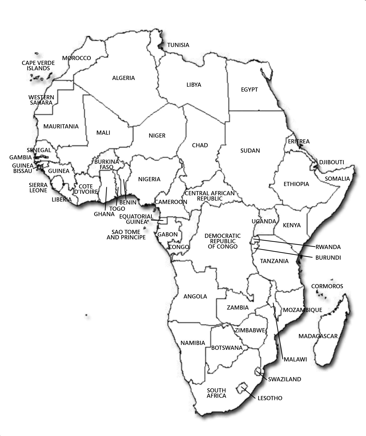 Maps of africa and african countries political maps contour political map of africa publicscrutiny Image collections