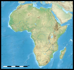 Detailed elevation map of Africa continent.