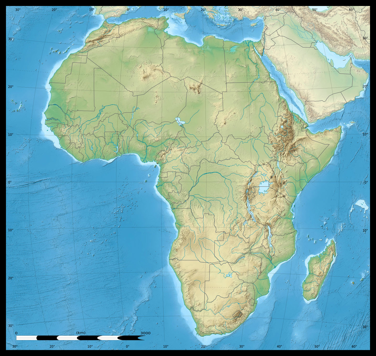 Elevation Map Of Africa With Key.Maps Of Africa And African Countries Political Maps