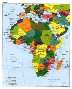 Detailed political map of Africa with capitals - 1997.