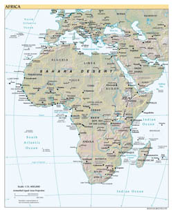 Detailed political map of Africa with relief and capitals - 1999.