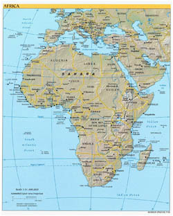 Detailed political map of Africa with relief and capitals - 2003.