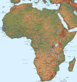 Detailed political map of Africa with relief.