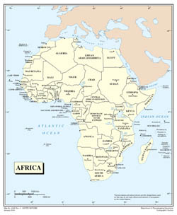 Large detailed political map of Africa.
