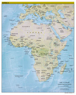Large detailed political map of Africa with relief and capitals - 2010.