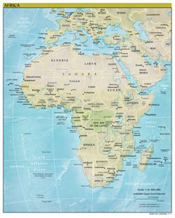 Large detailed political map of Africa with relief, major cities and capitals - 2011.