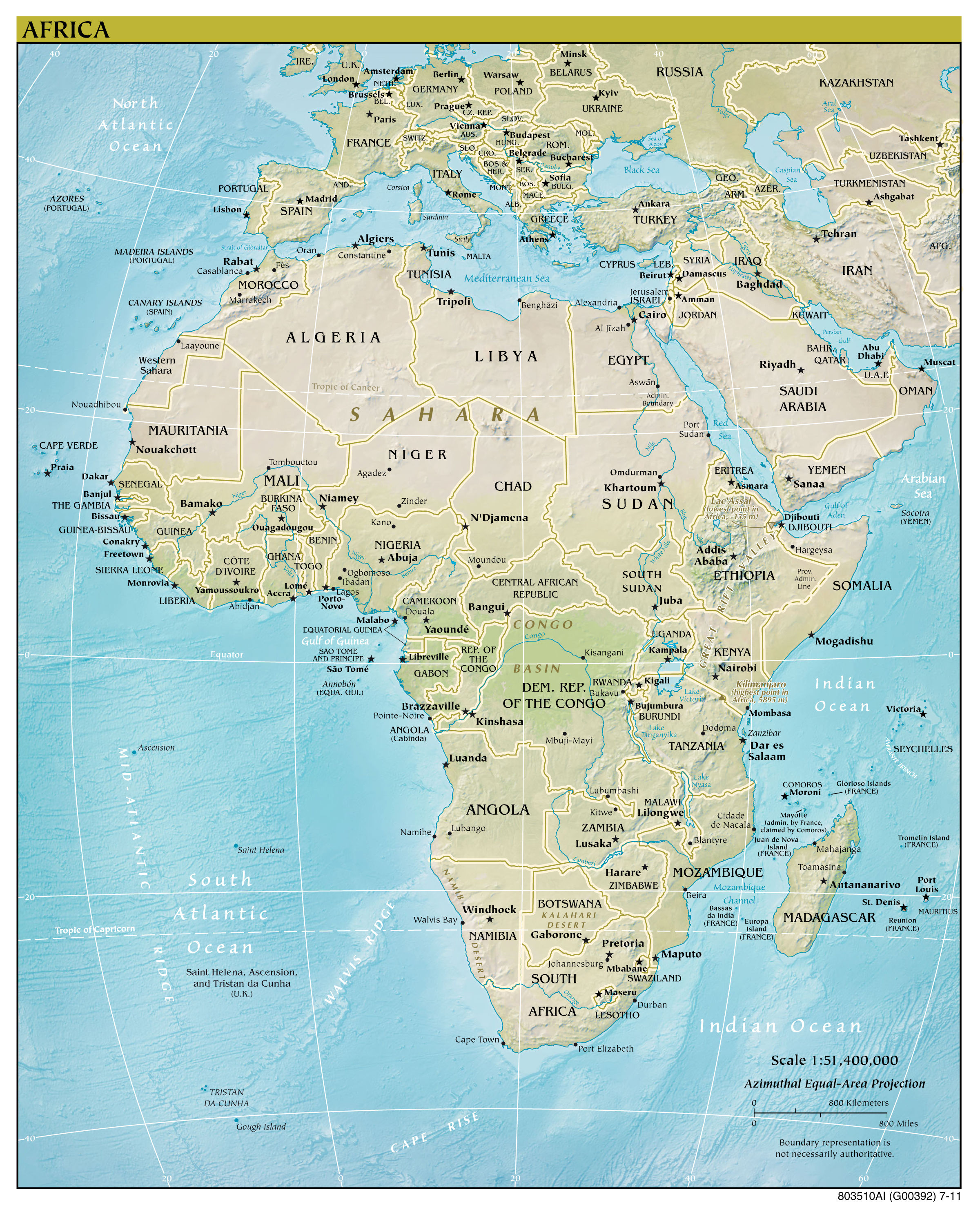 Large Detailed Political Map Of Africa With Relief, Major Cities And  Capitals   2011.