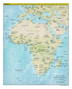 Large detailed political map of Africa with relief, major cities and capitals - 2012.