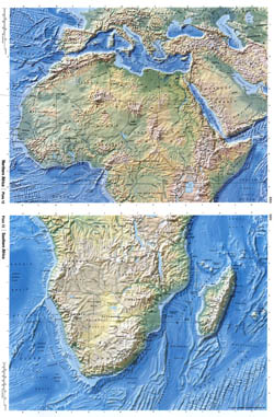 Large detailed relief map of Africa.