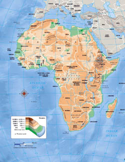 Large elevation map of Africa.