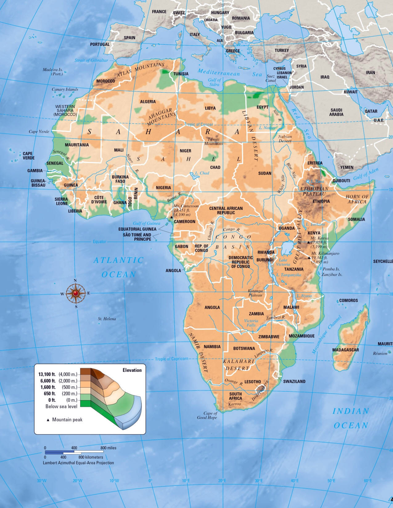 Maps of africa and african countries political maps large elevation map of africa gumiabroncs Choice Image