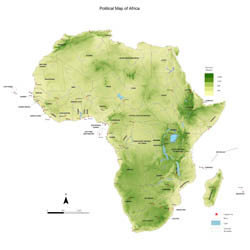 Large physical map of Africa.