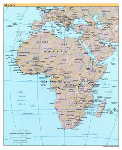 Large political map of Africa with relief and capitals - 2002.