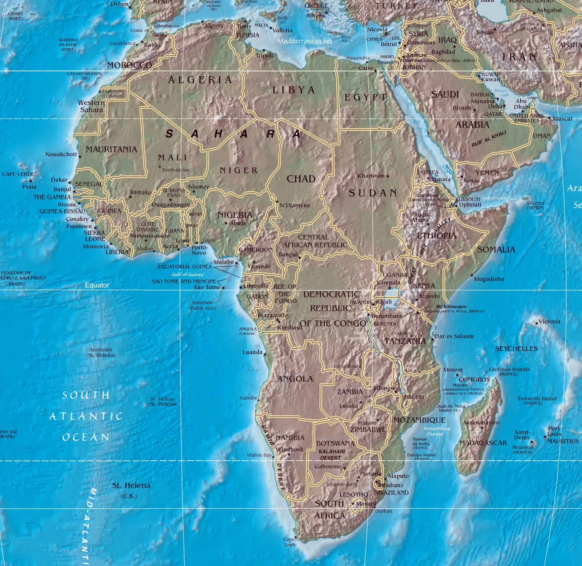 Maps of africa and african countries political maps large political map of africa with relief gumiabroncs Gallery