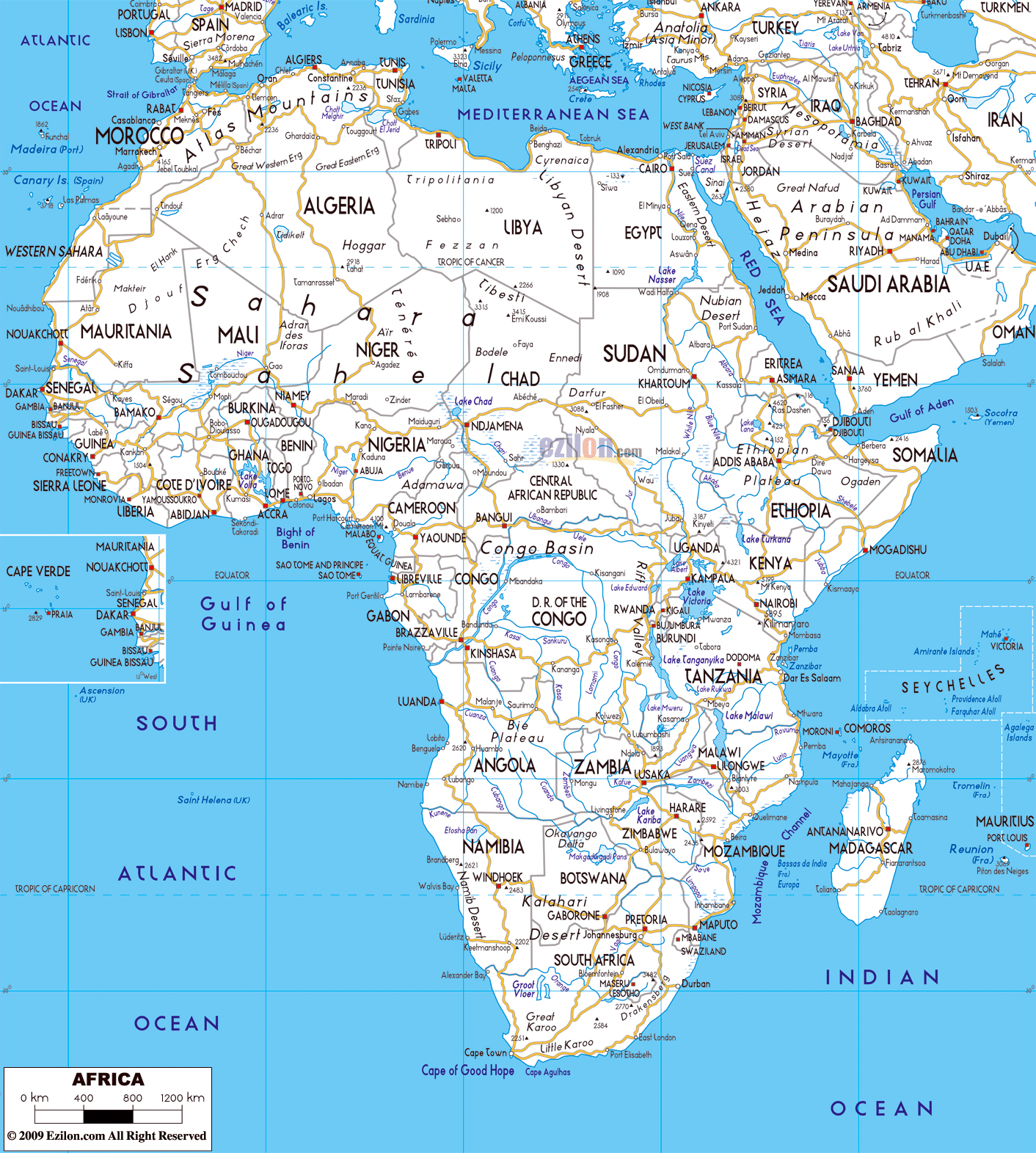 Maps of africa and african countries political maps large road map of africa with major capitals and major cities gumiabroncs Gallery