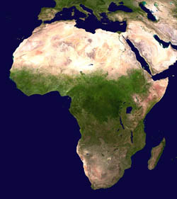 Large satellite map of Africa.