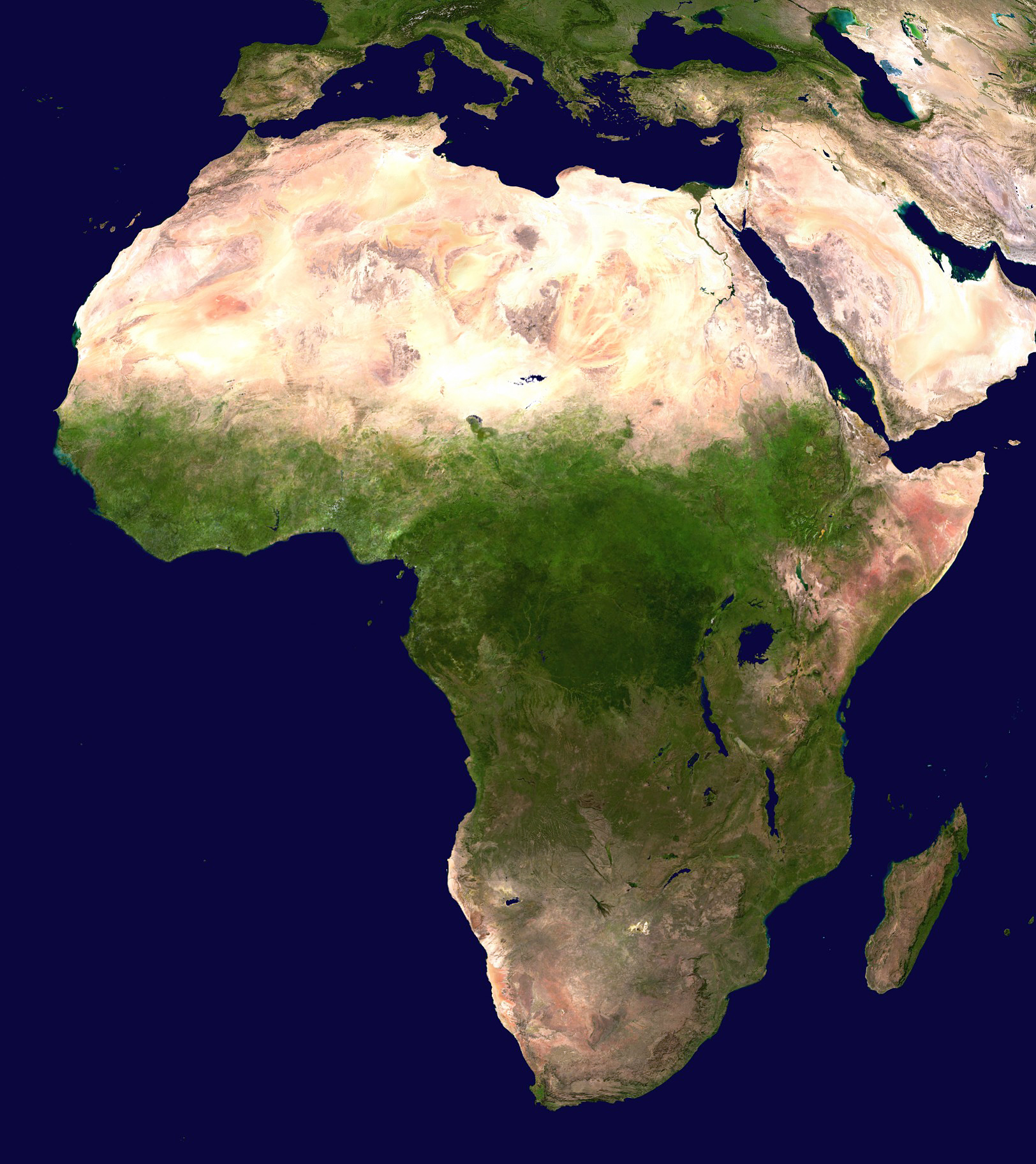 Maps of africa and african countries political maps large satellite map of africa gumiabroncs Images