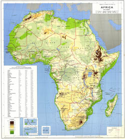 Large scale detailed physical and political map of Africa.