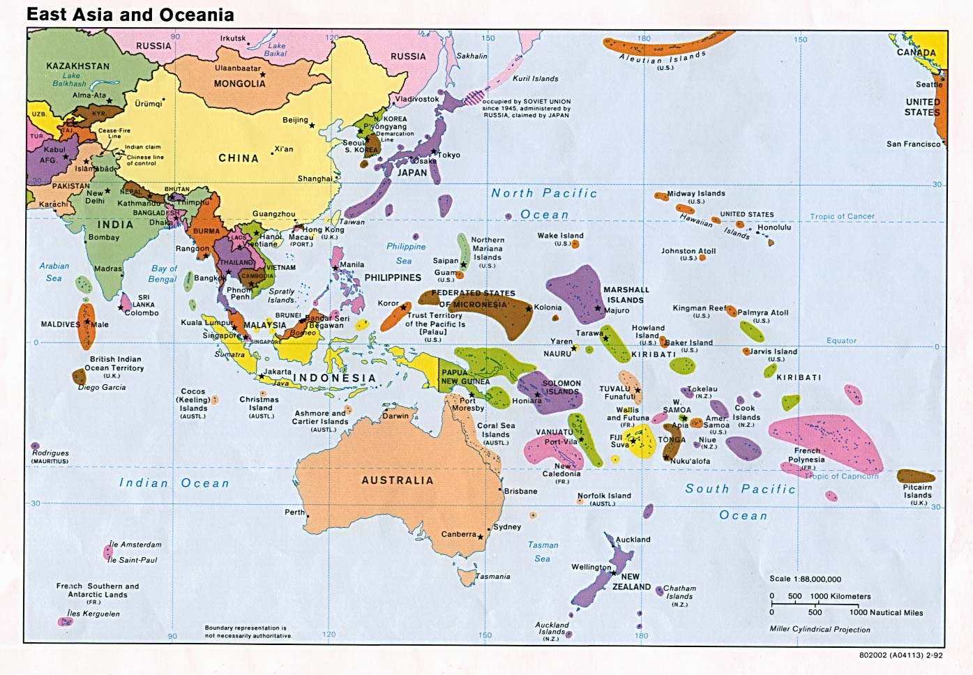 east asia and oceania political map with all capitals 1992