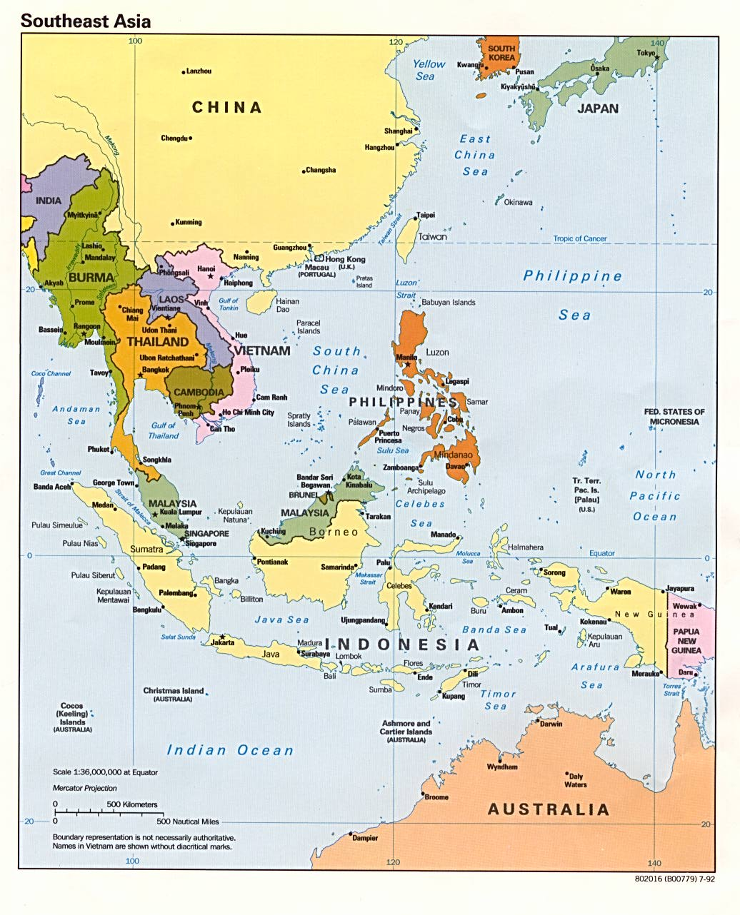 Southeast Asia Political Map   1992.