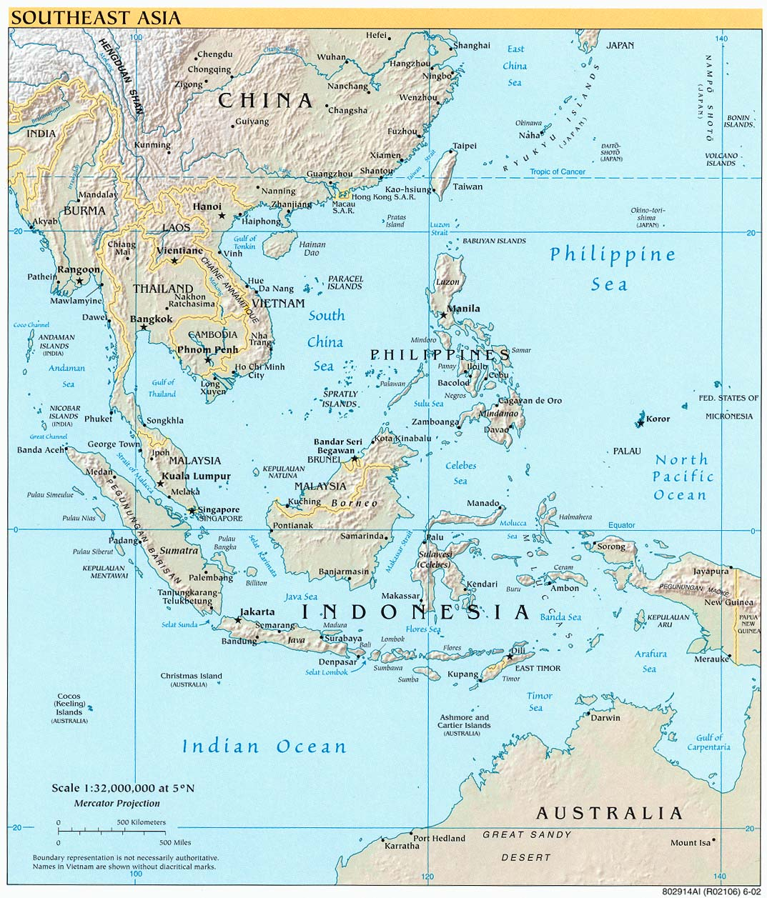 southeast asia political map with relief and capitals 2002