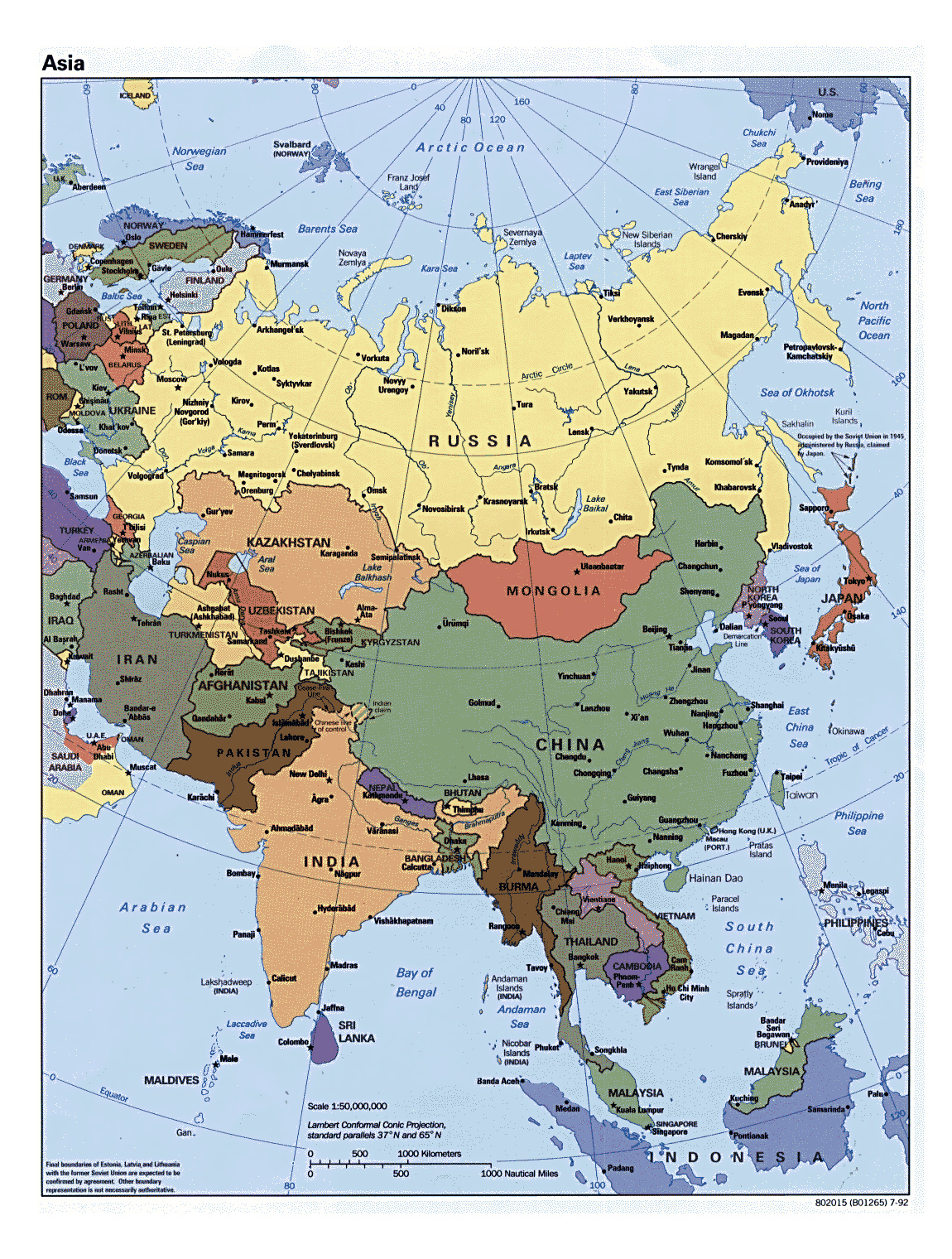 detailed political map of asia with all capitals 1992