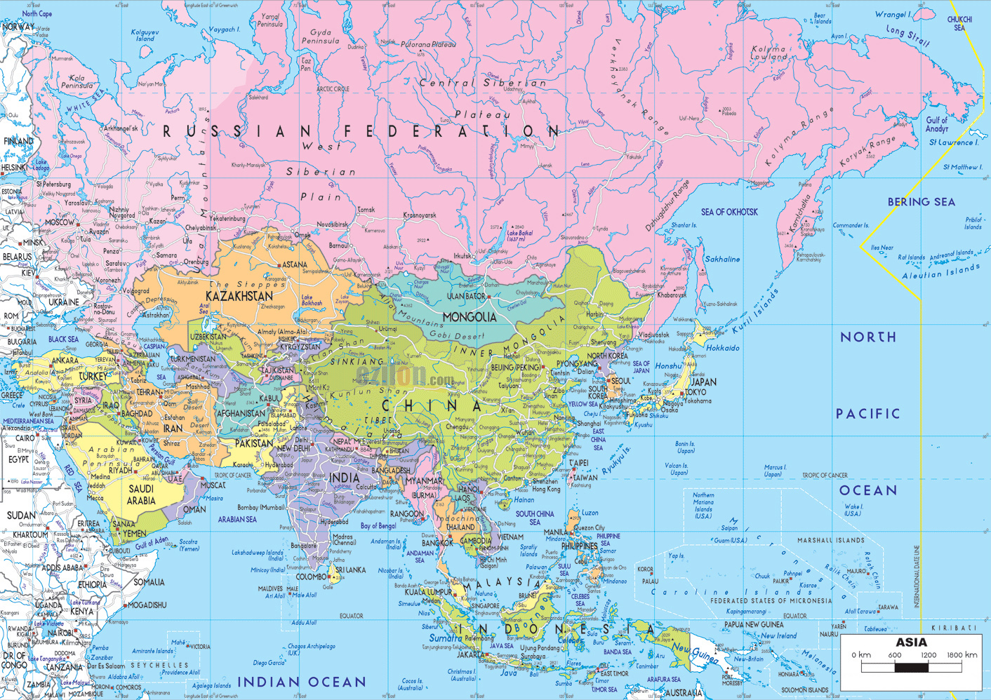 Maps of asia and asia countries political maps administrative and detailed political map of asia with highways and major cities gumiabroncs Gallery