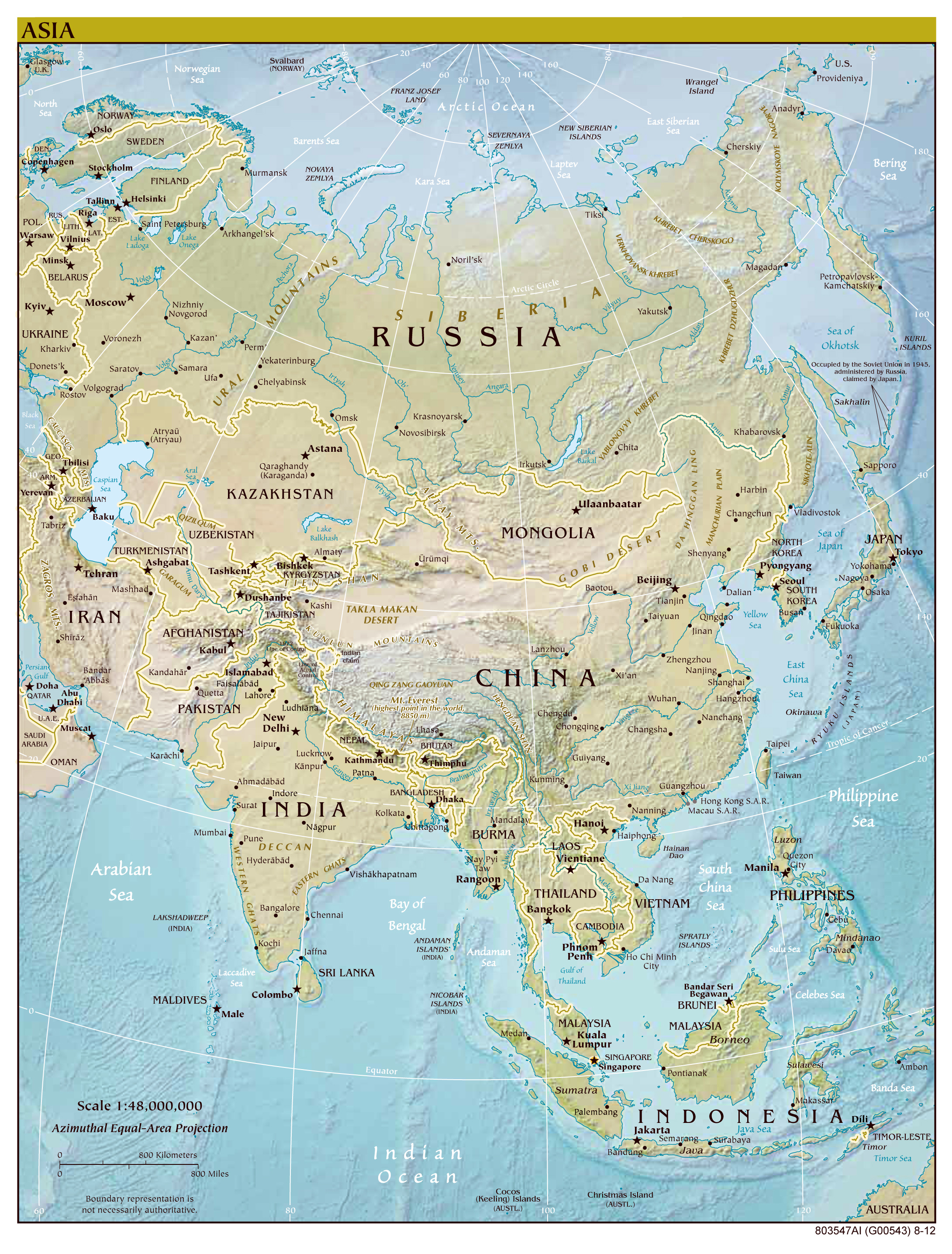 Large Detailed Political Map Of Asia With Relief All Capitals And Major  Cities   2012.
