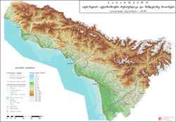 Large detailed physical map of Abkhazia.