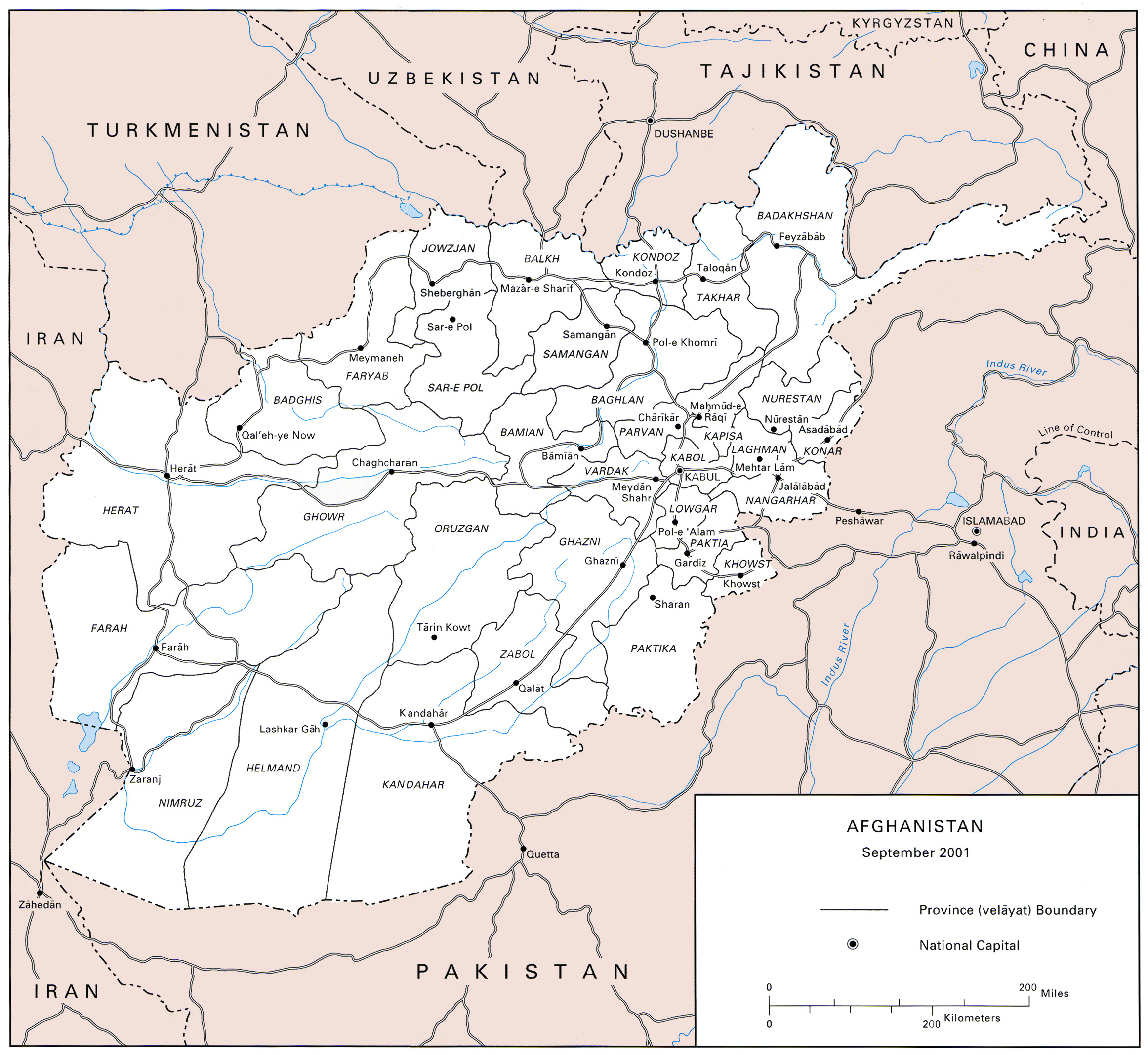 detailed us army map of afghanistan 2001