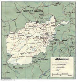 Detailed political and administrative map of Afghanistan - 1986.