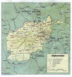 Detailed political and administrative map of Afghanistan with relief - 1986.