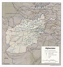 Detailed political and administrative map of Afghanistan with relief - 2002.