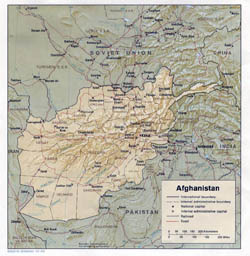 Detailed political and administrative map of Afghanistan with roads, cities and relief - 1983.