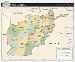 Large administrative divisions map of Afghanistan - 2008.