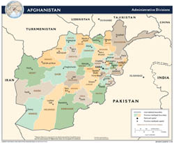 Large detailed administrative divisions map of Afghanistan - 2009.