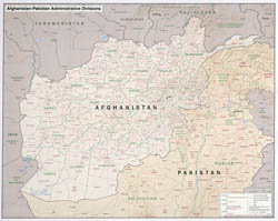 Large detailed administrative divisions map of Afghanistan and Pakistan with relief - 2008.