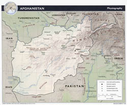 Large detailed physiography map of Afghanistan - 2008.
