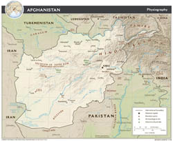 Large detailed physiography map of Afghanistan - 2009.