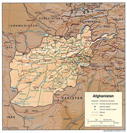 Large detailed political and administrative map of Afghanistan with relief - 2003.