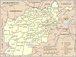 Large detailed political and administrative map of Afghanistan with roads, cities and airports.