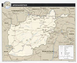 Large detailed political map of Afghanistan with roads, airports and major cities - 2008.
