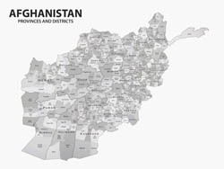 Large detailed provinces and districts map of Afghanistan.