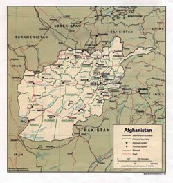 Large political and administrative map of Afghanistan with major cities and roads - 1993.
