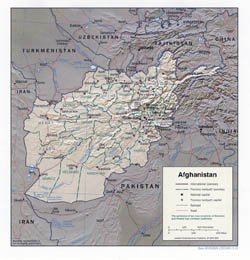 Large political and administrative map of Afghanistan with relief - 2001.