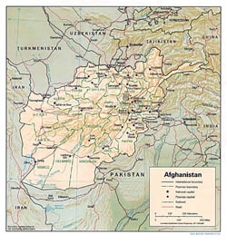Large political and administrative map of Afghanistan with relief, major cities and roads - 1993.