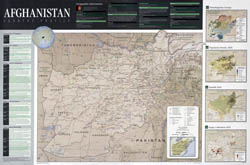 Large scale detailed country profile map of Afghanistan.