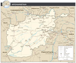 Large scale political map of Afghanista -with roads, airports and major cities - 2008.
