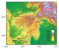 Large topographical map of Afghanistan.